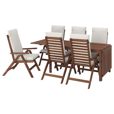 ÄPPLARÖ طاولة+6 كراسي استلقاء، خارجية, صباغ بني/Froson/Duvholmen بيج