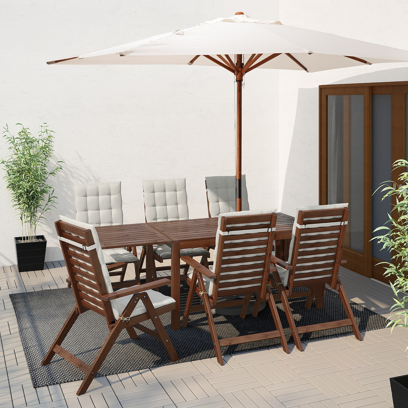 ÄPPLARÖ Table+6 reclining chairs, outdoor, brown stained/Hållö beige