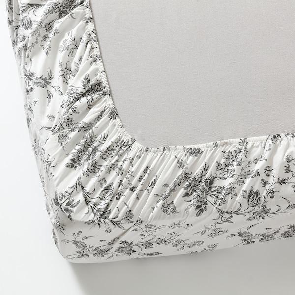 ALVINE KVIST Fitted sheet, white/grey, 180x200 cm