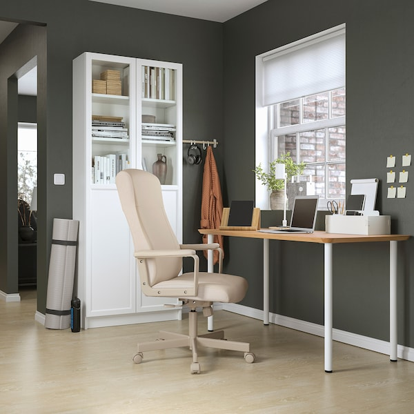 ANFALLARE / ADILS مكتب, خيزران/أبيض, 140x65 سم