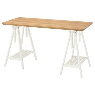 ANFALLARE / MITTBACK Desk, bamboo white, 140x65 cm