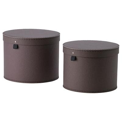 ANILINARE صندوق تخزين بغطاء، طقم من 2, بني غامق