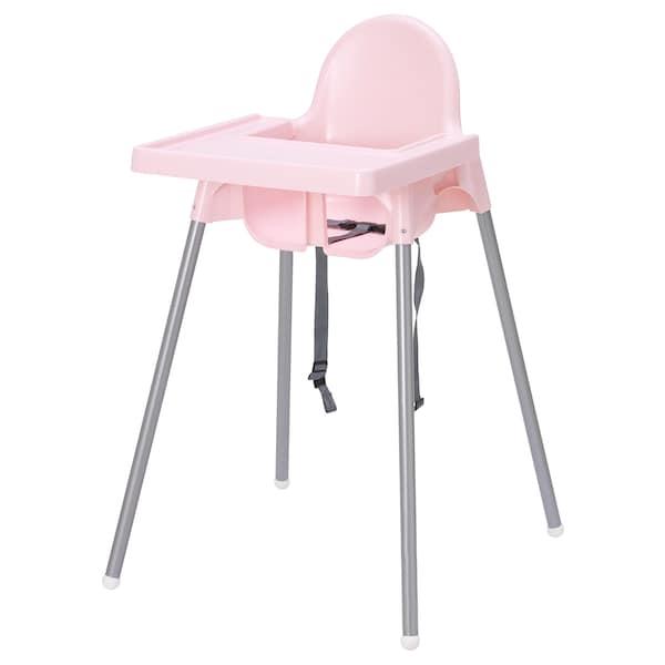 ANTILOP كرسي مرتفع مع صينية, زهري/لون-فضي