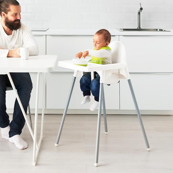 ANTILOP كرسي مرتفع مع صينية, أبيض/لون-فضي