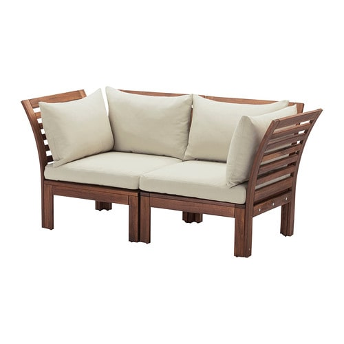 Pplar h ll 2 seat sofa outdoor brown stained beige - Sofa exterior ikea ...