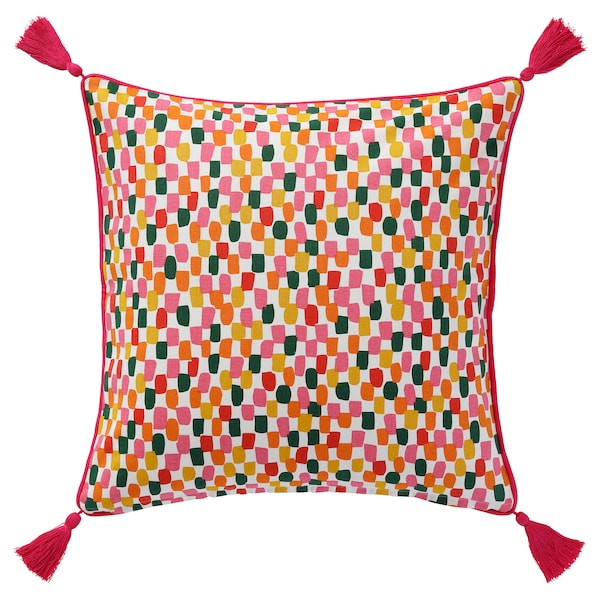 AROMATISK Cushion cover, multicolour tassel/diamond pattern, 50x50 cm