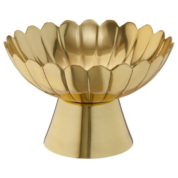 AROMATISK Decorative bowl with base, gold-colour, 15 cm