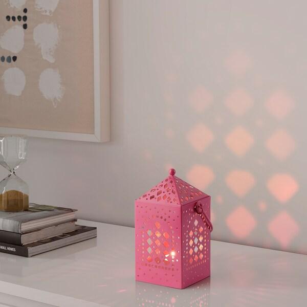AROMATISK Lantern for tealight, light pink, 20 cm