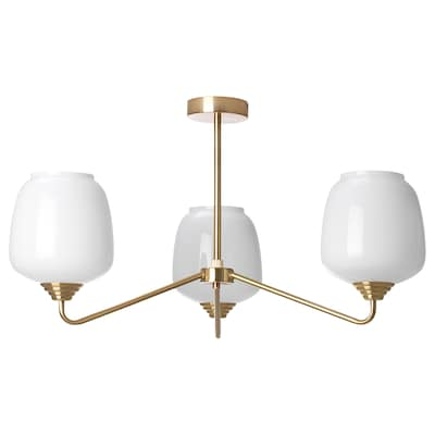 ÅTERSKEN Ceiling lamp with 3 lamps, opal white glass