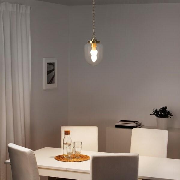 ÅTERSKEN Pendant lamp, clear glass/oval