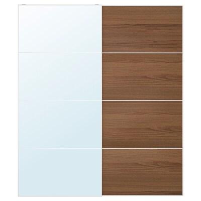 AULI / MEHAMN زوج من أبواب منزلقة, زجاج مرايا/مظهر الخشب مصبوغ بني, 200x236 سم