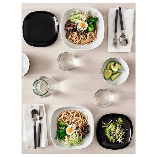 BACKIG Side plate, black, 18x18 cm