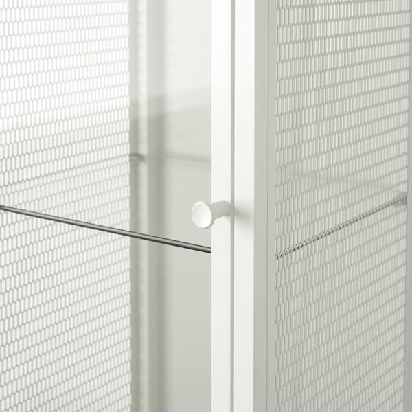 BAGGEBO خزانة مع أبواب زجاجية, معدن/أبيض, 34x30x116 سم