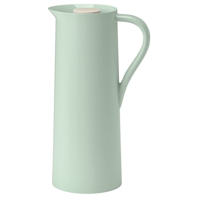 BEHÖVD Vacuum flask, light green/beige, 1 l