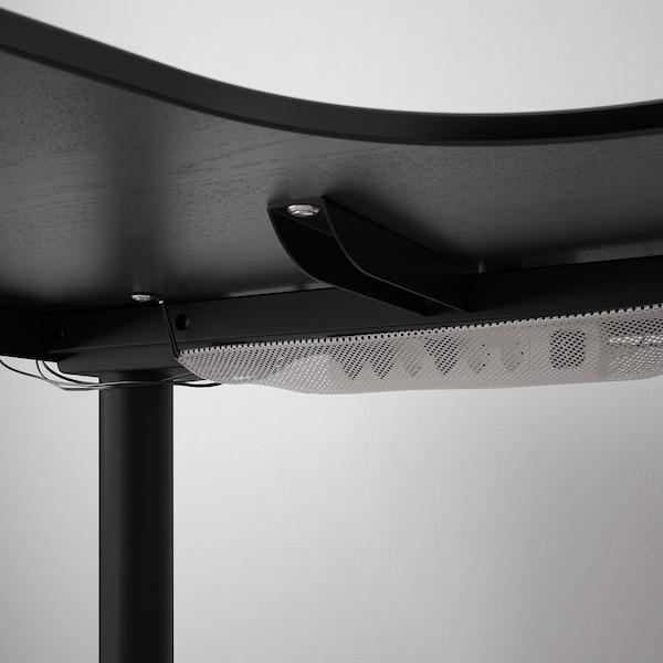 BEKANT مكتب زاوية، الجلوس يساراً/وقوف, قشرة الدردار لون الأسود/أسود, 160x110 سم