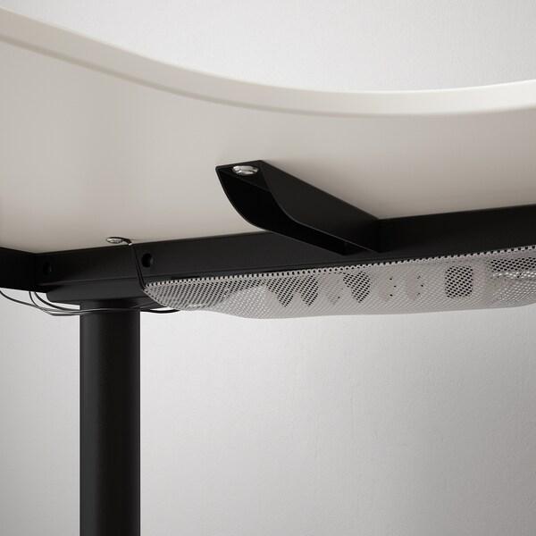 BEKANT مكتب زاوية، الجلوس يساراً/وقوف, أبيض/أسود, 160x110 سم
