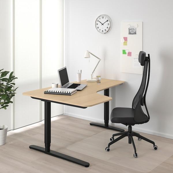BEKANT مكتب زاوية، الجلوس يساراً/وقوف, قشرة سنديان مصبوغ أبيض/أسود, 160x110 سم