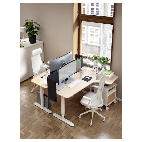 BEKANT مكتب زاوية، الجلوس يساراً/وقوف, قشرة سنديان مصبوغ أبيض/أبيض, 160x110 سم