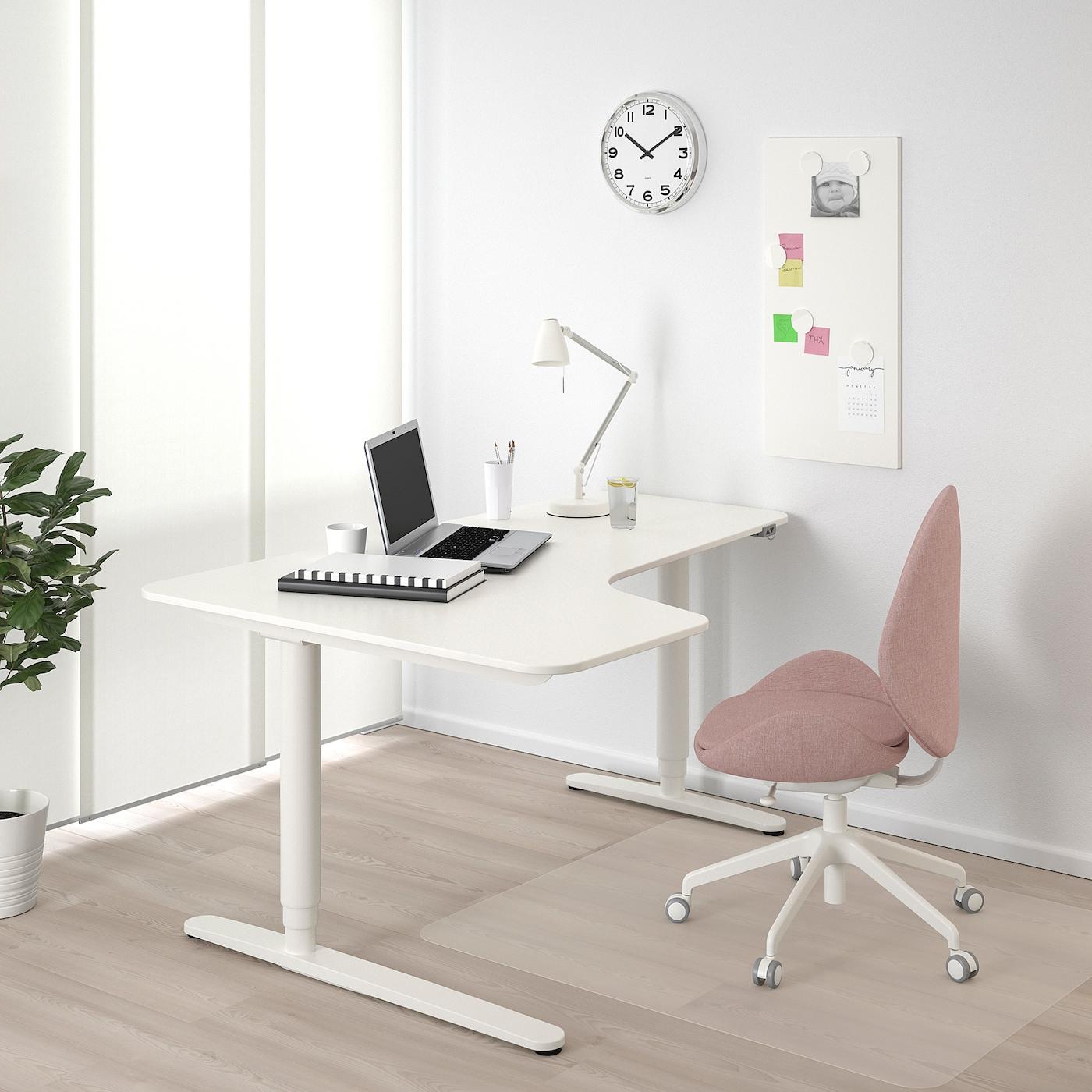 BEKANT مكتب زاوية، الجلوس يساراً/وقوف, أبيض, 160x110 سم
