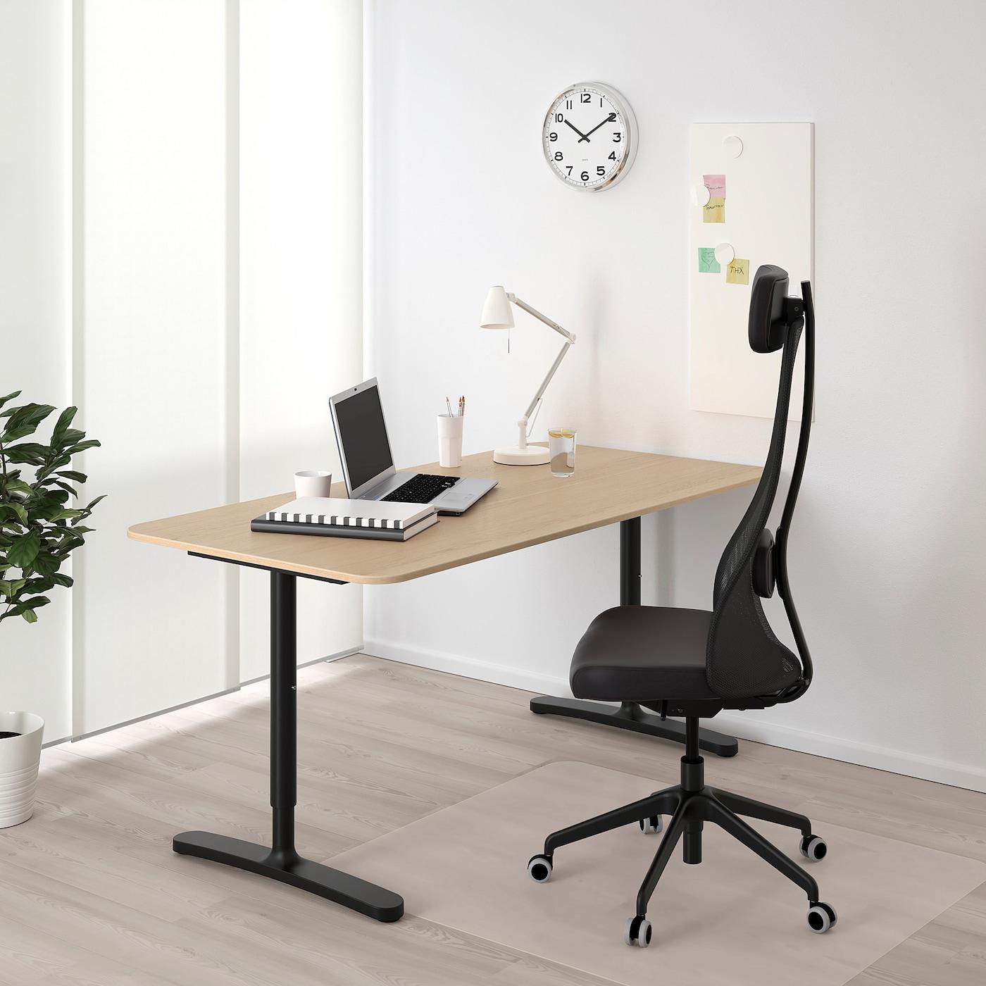 BEKANT Desk, white stained oak veneer/black, 160x80 cm