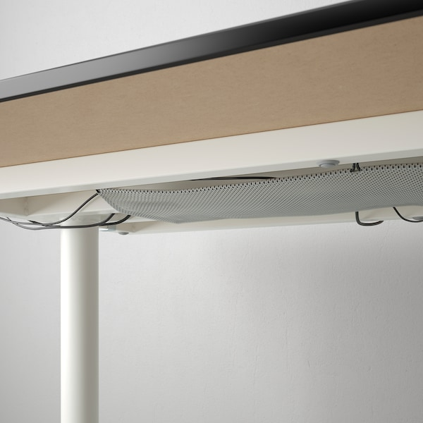 BEKANT Desk with screen, black stained ash veneer/white, 160x160 120 cm