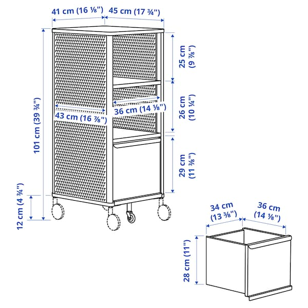 BEKANT Storage unit on castors, mesh white, 41x101 cm
