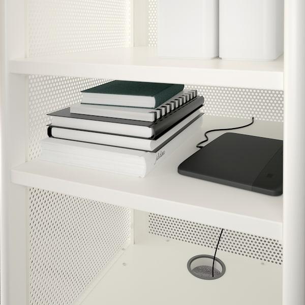 BEKANT Storage unit with smart lock, mesh white, 41x101 cm