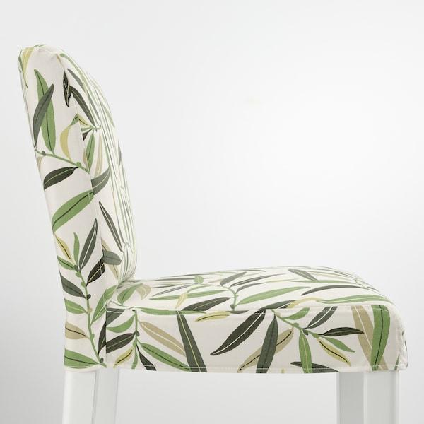 BERGMUND مقعد مرتفع مع مسند ظهر, أبيض/Fågelfors عدة ألوان, 75 سم