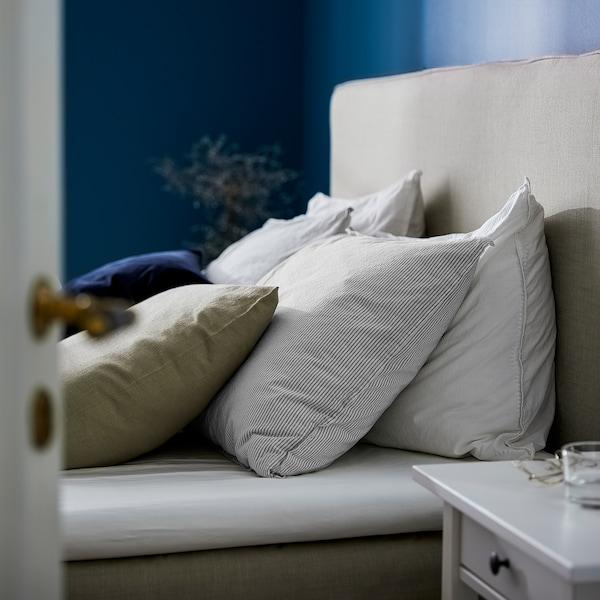 BERGPALM غطاء لحاف و ٢ غطاء مخدة, رمادي/شريط, 240x220/50x80 سم