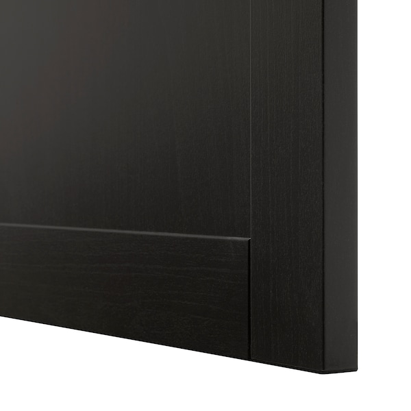 BESTÅ وحدة رف مع باب, أسود-بني/Hanviken أسود-بني, 60x42x64 سم