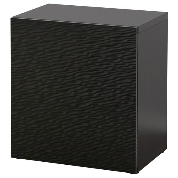 BESTÅ وحدة رف مع باب, أسود-بني/Laxviken أسود, 60x42x64 سم