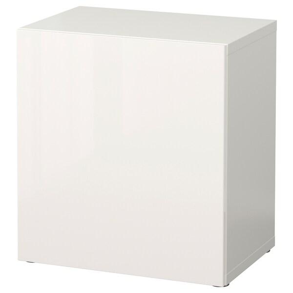 BESTÅ وحدة رف مع باب, أبيض/Selsviken أبيض/لامع, 60x42x64 سم