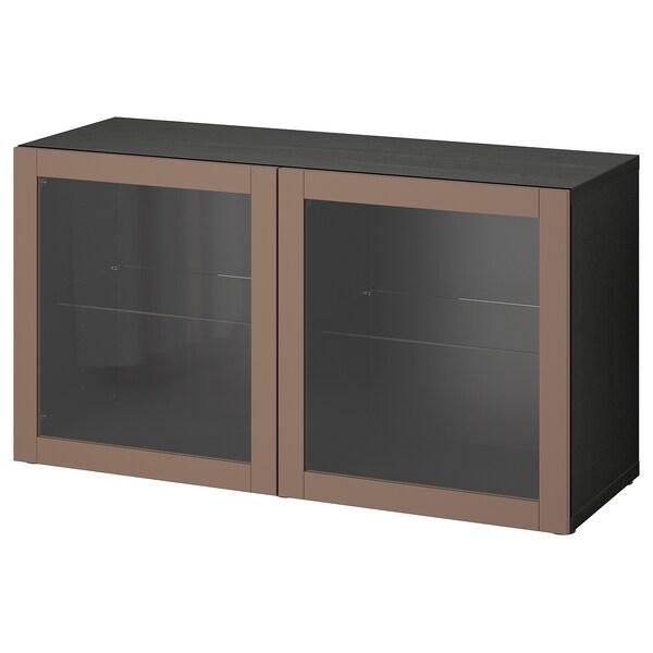 BESTÅ وحدة أرفف مع أبواب, أسود-بني/Sindvik رمادي فاتح-بني, 120x42x64 سم