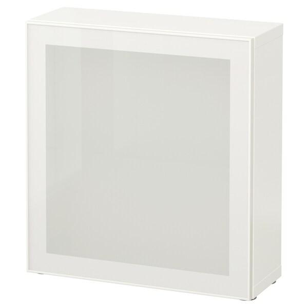 BESTÅ وحدة أرفف مع باب زجاجي, أبيض/Glassvik أبيض/زجاج ضبابي, 60x22x64 سم