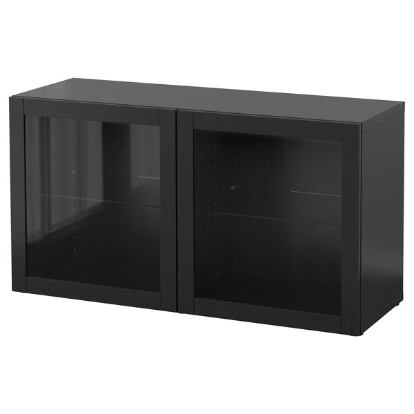 BESTÅ وحدة أرفف مع أبواب زجاجية, أسود-بني/Sindvik أسود-بني زجاج شفاف, 120x40x64 سم