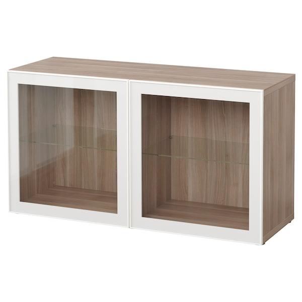 BESTÅ وحدة أرفف مع أبواب زجاجية, مظهر الجوز مصبوغ رمادي/Glassvik أبيض/زجاج شفاف, 120x42x64 سم