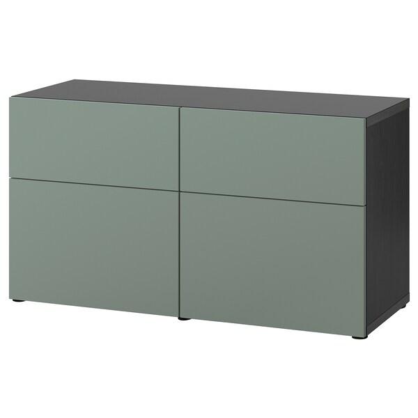 BESTÅ تشكيلة تخزين مع أبواب/ أدراج, أسود-بني/Notviken رمادي-أخضر, 120x42x65 سم