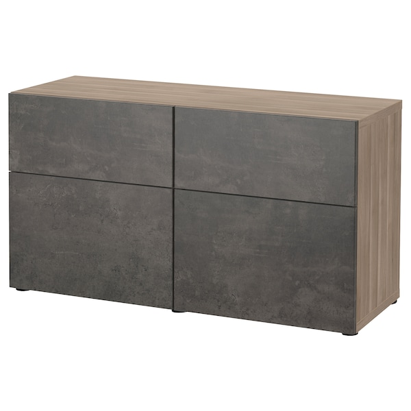BESTÅ تشكيلة تخزين مع أبواب/ أدراج, مظهر الجوز مصبوغ رمادي Kallviken/رمادي غامق تأثيرات ماديّة., 120x42x65 سم
