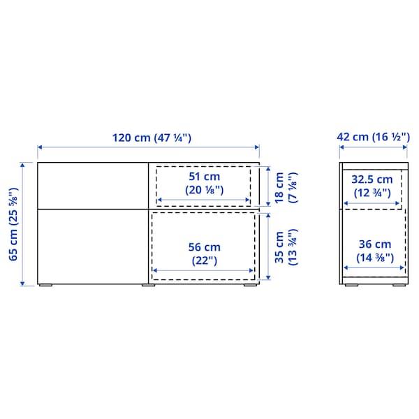 BESTÅ تشكيلة تخزين مع أبواب/ أدراج, أبيض Kallviken/رمادي غامق تأثيرات ماديّة., 120x42x65 سم