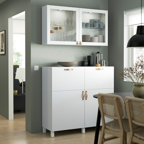 BESTÅ تشكيلة تخزين مع أبواب/ أدراج, أبيض/Lappviken/Stubbarp أبيض زجاج شفاف, 120x42x213 سم