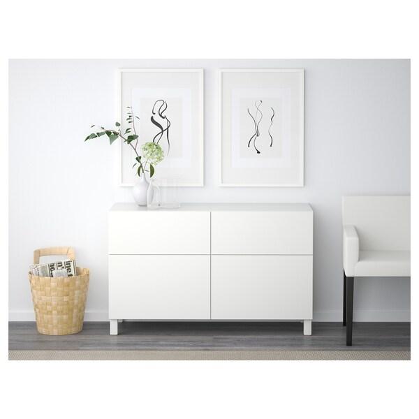 BESTÅ تشكيلة تخزين مع أبواب/ أدراج, أبيض/Lappviken أبيض, 120x42x65 سم