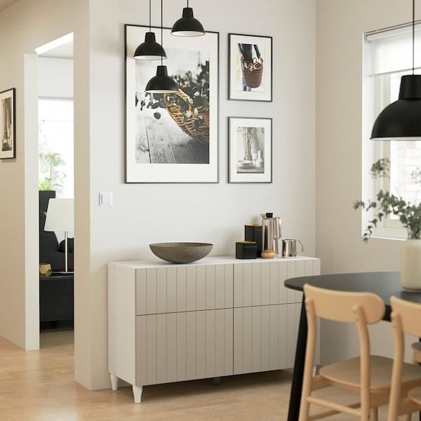 BESTÅ تشكيلة تخزين مع أبواب/ أدراج, أبيض/Sutterviken/Kabbarp رمادي-بيج, 120x42x74 سم