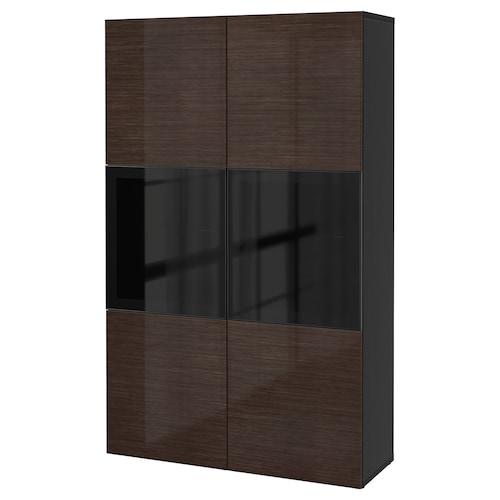 BESTÅ storage combination w glass doors black-brown/Selsviken high-gloss/brown smoked glass 120 cm 40 cm 192 cm