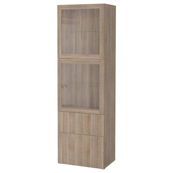 BESTÅ Storage combination w glass doors, grey stained walnut effect/Lappviken grey stained walnut eff clear glass, 60x42x193 cm