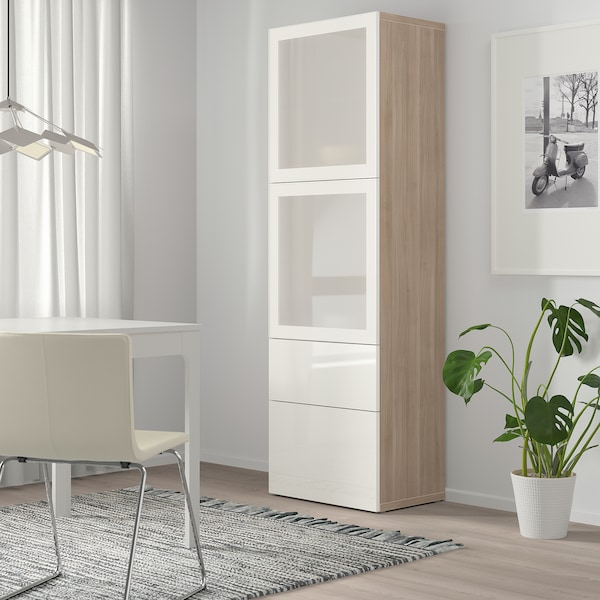 BESTÅ Storage combination w glass doors, grey stained walnut effect/Selsviken high-gloss/white frosted glass, 60x42x193 cm