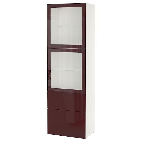 BESTÅ Storage combination w glass doors, white Selsviken/dark red-brown clear glass, 60x42x193 cm
