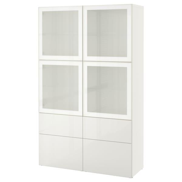 BESTÅ storage combination w glass doors white/Selsviken high-gloss/white frosted glass 120 cm 40 cm 192 cm