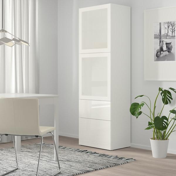 BESTÅ Storage combination w glass doors, white/Selsviken high-gloss/white frosted glass, 60x42x193 cm