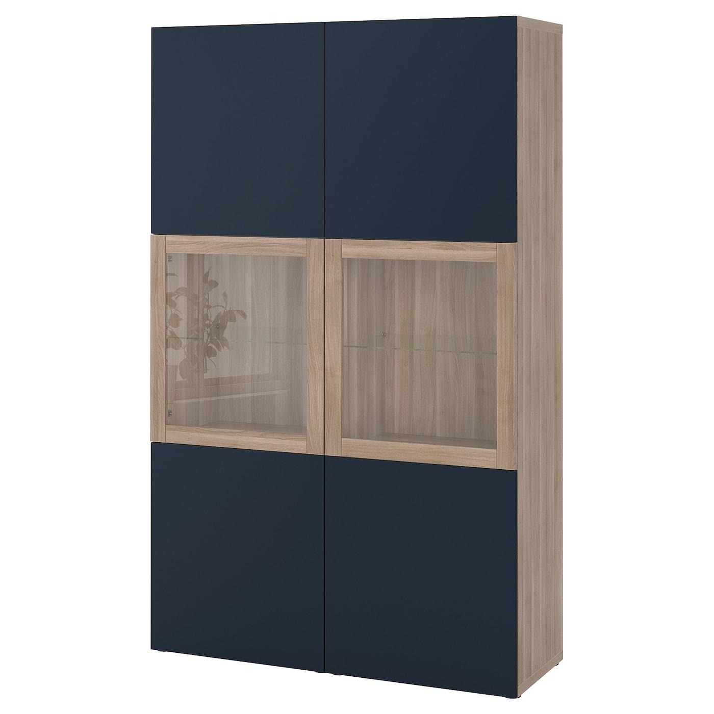 Storage Combination W Glass Doors Besta Grey Stained Walnut Effect Notviken Blue Clear Glass