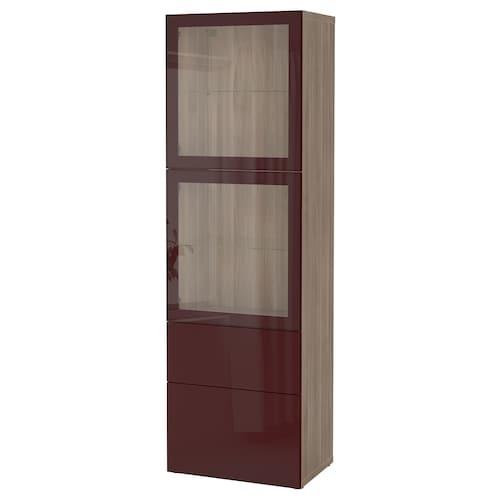 BESTÅ storage combination w glass doors grey stained walnut effect Selsviken/dark red-brown clear glass 60 cm 42 cm 193 cm